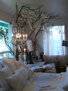 Bedroom lights with tree branches and twinkle-lights