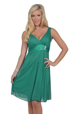 Womens Crossover V Neck Sleeveless Ruched Satin Empire Waist Chiffon Party Dress => Remarkable product available now. : Bridesmaid dresses