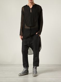 Black cotton blend sheer shirt from Barbara I Gongini featuring a key-hole neckline, long sleeves and a high low hem.