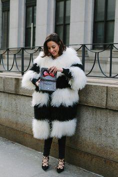 casaco, pele, inverno, fur, street style, nyfw, inverno 2016, preto e branco, p&b