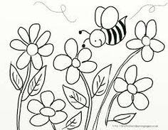 Molde pra Colorir - Abelha e Flores