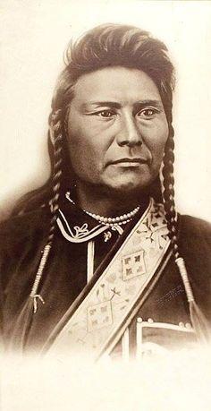 Chief Joseph aka Thunder Traveling in the Mountains (Hin-mah-too-yah-lat-kekt). Nez Perce. Photo by Orlando Scott Goff at Bismarck, Dakota Territory. October 1877.