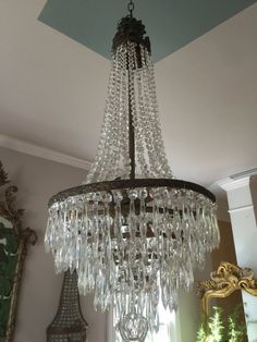 Stunning brass and drop crystal chandelier. Entryway Chandelier, Kitchen Chandelier, Antique Chandelier, Foyer, Luxury Lighting, Stage Lighting, Round Crystal Chandelier, Prom Themes, Art Nouveau Design