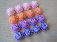 16PCS - Cabbage Rose Flower Cabochons - 15mm