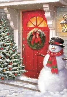 What a gorgeous entrance setup! Christmas Scenes, Christmas Past, Christmas Door, Christmas Pictures, Christmas Snowman, Winter Christmas, Christmas Crafts, Christmas Decorations, Illustration Noel