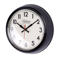 Round Black #Wall #Clock Kitchen Home Decor Glass Face 12 Hour #Battery Powered New #Modern