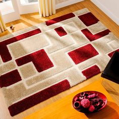 Venice Imperial Red/Beige Abstract Rug By Flair Rugs This stunning Venice Imperial Red/Beige Abstract Rug showcases a lovely low loop and high pile shaggy sectioned product that creates a 3D effect in a blocked shape design. #modernrugs #shaggyrugs #machinemaderugs #geometricrugs #abstractrugs #designerrugs #beigerugs