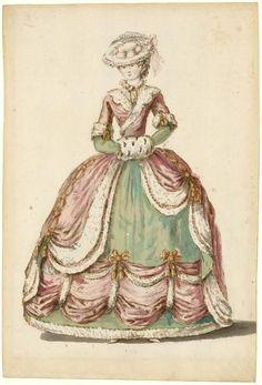 Charles-Germain de Saint-Aubin: dame en habit de cour 1785. ©Photo Les Arts…