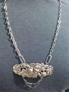 """Silver chain with filigree silver focal.  14 1/2"""".  G331.  $25.00"""