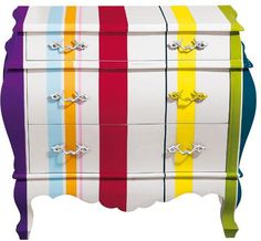 Seletti dresser Trip Trumeau: printed, made of MDF, with 3 drawers. Striped Furniture, Hand Painted Furniture, Funky Furniture, Colorful Furniture, Dining Furniture, Furniture Design, Furniture Ideas, Furniture Storage, Baby Furniture