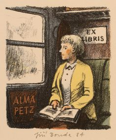 bookplate for Alma Petz depicts woman sitting reading book in her lap, in railway or subway train, 1984