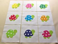 "$10.95  Set of  9 Bright Polka Dot Turtle  6"" x 6""  Quilt  Blocks   #Unbranded"