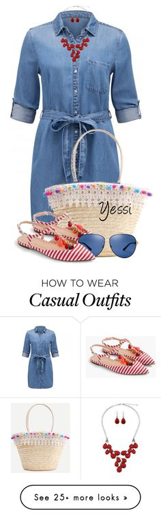 """""""~  Striped Shoes  ~"""" by pretty-fashion-designs on Polyvore featuring J.Crew and Tory Burch"""