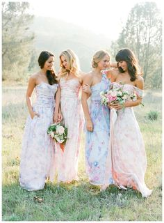 Printed floral bridesmaid dresses are a romantic look for any wedding. These floral dresses for bridesmaids were made to mix and match or offer a pretty compliment to solid colors. Plus, tips here to find short and floral maxi dresses for bridesmaids. Couture Bridesmaid Dresses, Pastel Bridesmaid Dresses, Designer Bridesmaid Dresses, Blue Bridesmaids, Wedding Bridesmaids, Wedding Dresses, Floral Dresses, Pink Dresses, Wedding Inspiration