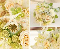 You're going to love this bouquet designed by Isari Flower Studio for our Exquisite Weddings Fall/Winter 2010 issue. The pale pink and light green color palette is so refreshing! Made with lacy astilbe, roses, blushing bride protea, sweet tweedia, creamy carnations, succulents and subdued cymbidium orchids accented by dusty miller and geranium foliage. Photos by Suzanne Hansen of SheWanders Photography. What flower is a must-have for your bouquet?