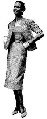 ANOS DOURADOS: IMAGENS & FATOS: FATOS - MODA (1958) modelo para primavera/ verão em tecido tissu-rodier com original casaco