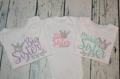 This is an adorable set of 3 for a big sister middle sister and little sister. For the little sister you can choose a gown or bodysuit from the