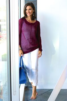 Summer Style // Beach Ready // Linen Crewneck Sweater in Pinot // Christopher Fischer // DL1961 // Laggo