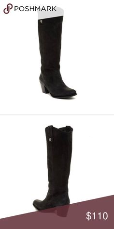 """NEW Vince Camuto Kolton western style leather boot Brand new (no box) Size 7.  Pristine topstitching outlines a tall Western boot styled with a curvy topline, an almond toe and a sculptural block heel. True to size. Narrow calf circumference - check your measurements to ensure a good fit. Almond toe Slip-on with side pull-tabs Chunky block heel Approx. 14.75"""" boot shaft, 14.5"""" opening circumference Approx. 2.25"""" heel Imported Materials Suede upper, synthetic lining and sole. Vince Camuto…"""