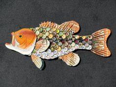 Metal Bottle Cap Wall Art  Large Mouth Bass by EricsEasel on Etsy