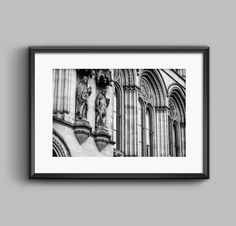 Black and white landscape photograph of the Guardians of Manchester / urban / street / cityscape / wall art / home decor / photography