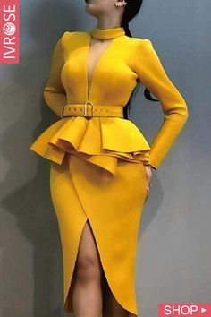 Choker V Flounced Tulip Hem Belted Dress – Bodycon Dress Blazer Dress, Belted Dress, The Dress, Peplum Dress, Bodycon Dress, Pencil Dress, Clothes For Women In 30's, Trendy Outfits, Evening Dresses