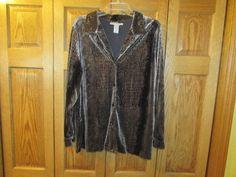 WOMEN'S BROWN VELOUR PRINT TOP #RADCLIFFE #ButtonDownShirt.  eBay item number:132184625890