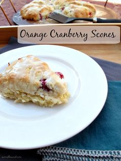 Orange Cranberry Scones - moist and delicious orange scones with fresh cranberries and orange glaze. Perfect for Christmas morning or any chilly Autumn or Winter morning!  Nummy!
