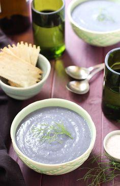 Pureed Purple Potato and Fennel Soup - recipe at cali-zona.com
