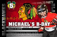 CUSTOM PERSONALIZED CHICAGO BLACKHAWKS BIRTHDAY INVITATIONS INVITES