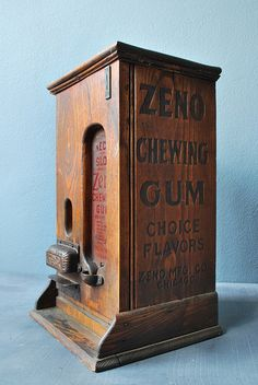 Zeno Vending Machine: Late 1890's Zeno chewing gum vending machine, made in Chicago.