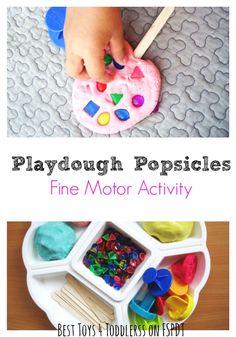 Playdough Popsicles Fine Motor Activity idea for the kids.