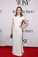 Leighton Meester in Jacob & Co. jewelry and an Emm Kuo clutch at the Tony Awards.