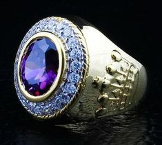 When sitting on your finger, our staggering Christian Crown Bishop Ring will command respect and attention. Made of silver with gold plating and amethyst inlaid Amethyst Gemstone, Purple Amethyst, Gemstone Rings, Bishop Ring, Coral Ring, Gold Ring, Sterling Silver Cross, Fashion Rings, Rings For Men