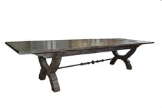 A new table, designed as a kitchen island, has three drawers across the front and an overhang on the opposite side for seating.
