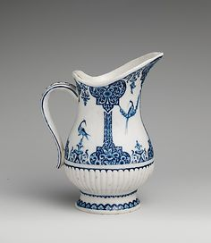 1720 French Ewer at the Metropolitan Museum of Art, New York - Blue and white porcelain pieces like this one were inspired by imported pieces from China.