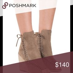 """Jeffrey Campbell Batavia Booties, 6 - Open toe - Lace-up sides with back zip closure - Lightly padded footbed - Wedge heel - Approx. 4"""" shaft height - Approx. 4"""" heel - Imported Jeffrey Campbell Shoes Ankle Boots & Booties"""