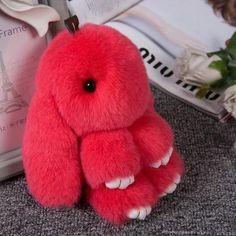 Hot Plush Rabbit Keychain Cute Fluffy Bunny Rex Genuine Rabbit Fur Pompon  Hare Key Ring Car Pom Pom Toy Doll Bag Charm For Women 8c8b012e8