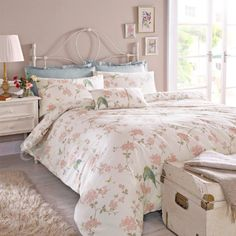 vintage floral rüschen bettwäsche creme beige rosa bettwäsche set, Wohnzimmer dekoo