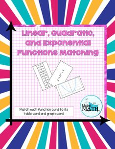 Linear, Quadratic, and Exponential Functions Matching is an interactive and hands on way for students to practice comparing the equations, graphs, and tables of linear, quadratic, and exponential functions. Students match each function card to its table card and graph card. This activity can be used in a variety of ways including as an interactive notebook page, class pairs activity, homework assignment, or individual assessment of student understanding. High School Activities, Math Activities, Algebra 1, Calculus, Math Centers, Math Stations, Math Courses, School Fun, School Stuff