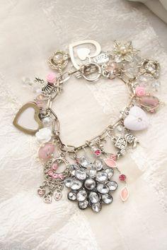 Valentine charm bracelet with upcycled vintage jewelry