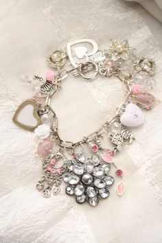 Valentine charm bracelet with upcycled vintage jewelry