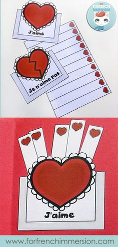 Lapbook de la Saint-Valentin – French Valentine's Day Lapbook: interactive foldable activities, and more French practice! (pictured) heart pockets – sorting activity #frenchimmersion #corefrench #lasaintvalentin #forfrenchimmersion