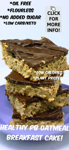 Healthy PB Oatmeal Breakfast Cake Any reason vegans whole food plant based diet weight loss dessert gluten free fun vegan Easy low carbs keto friendly ketogenic diet veg. Oatmeal Cake, Peanut Butter Oatmeal, Healthy Peanut Butter, Almond Butter, Healthy Dessert Recipes, Whole Food Recipes, Cake Recipes, Tuna Recipes, Whole Food Desserts