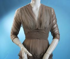 Vintage 1930s Rare Eta Hentz Smoke Colored Mesh and Beaded Gown