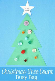 Preschool Christmas Activity: Christmas Tree Count Busy Bag at Motherhood on a Dime