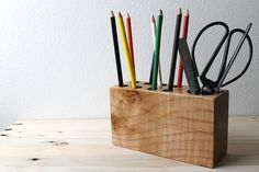 Modern Wood Desk Organizer in a vintage style with eco friendly Locally Salvaged Western Maple. $49.00, via Etsy.