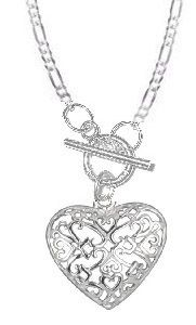 Beautiful Sterling Silver filigree open heart toggle necklace on figaro chain