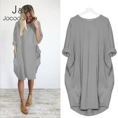 Casual Loose Dress Pocket O Neck Long Tops T Shirt Dress Streetwear Plus Size Vestidos Vintage, Halloween Dress, Streetwear, Fashion Outfits, Womens Fashion, Ladies Fashion, Maternity Tops, Long Tops, Lady