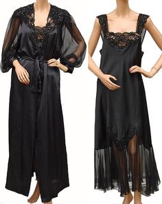 Vintage 80s Christian Dior Black Negligee Nightgown and Peignoir Large